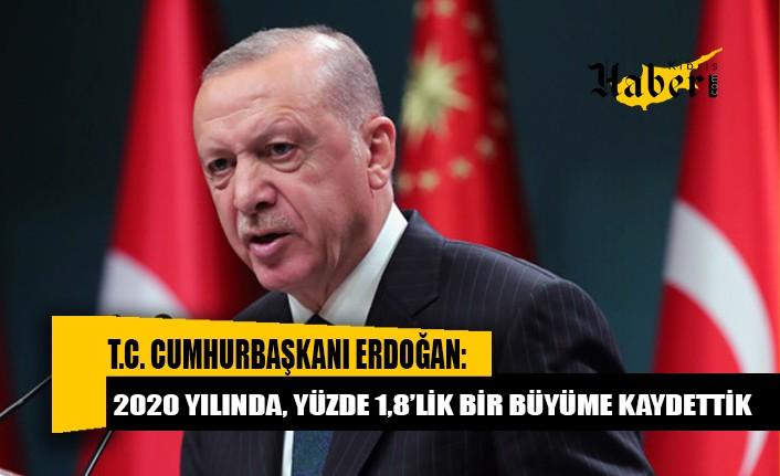 Erdoğan: 2020 yılında, yüzde 1,8'lik bir büyüme kaydettik