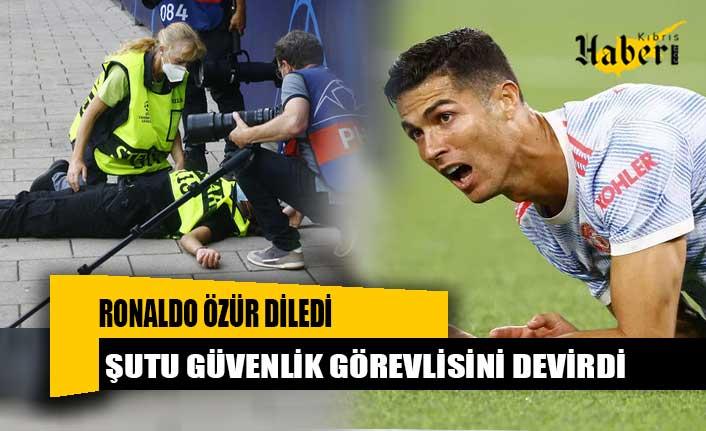 Ronaldo özür diledi! Şutu güvenlik görevlisini devirdi