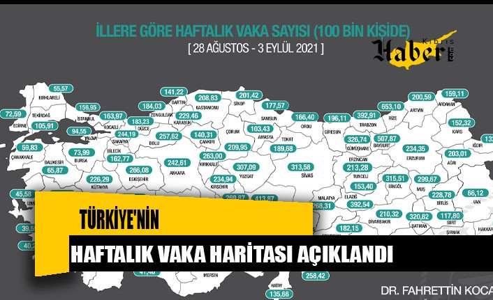 Türkiye'nin haftalık vaka haritası açıklandı