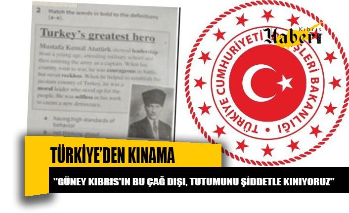 Türkiye, Rum okullarında okutulan ders kitabından Atatürk'le ilgili sayfanın yırtılması talimatını kınadı