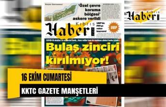 16 Ekim KKTC gazete manşetleri