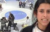 Canlı yayında kocasına uçan tekme attı