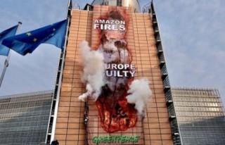 Greenpeace Amazonlar'daki yangına dikkat çekmek...