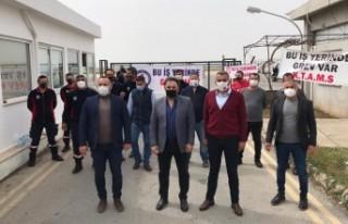 Ercan'da şok eylem… Sendika başkanları açıklamada...