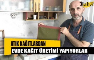 Atık kağıtlardan evde kağıt üretimi yapıyorlar