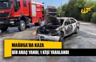 Mağusa'da kaza, bir araç yandı, 1 kişi yaralandı