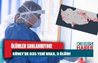Güney'de 635 yeni vaka, 3 ölüm!