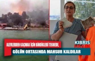 Manavgat'ta korku dolu 6 saat! Alevlerden kaçmak için bindikleri teknede, gölün ortasında mahsur kaldılar