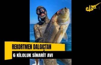 Rekortmen dalgıçtan 65 santim boyunda 6 kiloluk sinarit avı