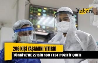 Türkiye'de 206 kişi yaşamını yitirdi