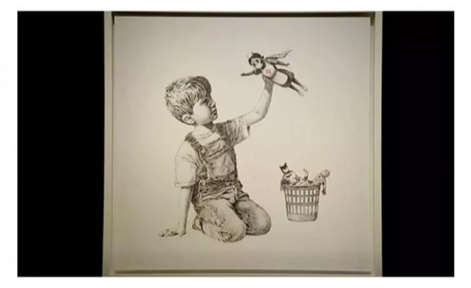 Banksy'nin sağlık çalışanlarını süper kahramanlaştırdığı resme ödenen 23 milyon dolar, hastanelerin imdadına yetişecek