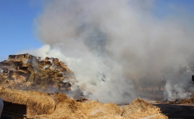 Akova'da çıkan yangında yüzlerce balya kül oldu