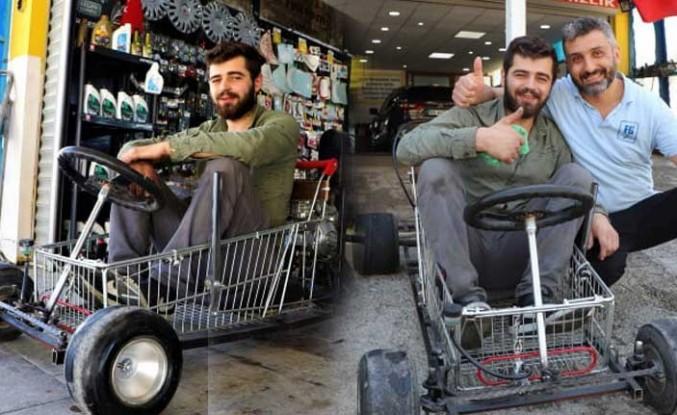 Alışveriş sepetinden araba yaptı:120 km hız yapabiliyor
