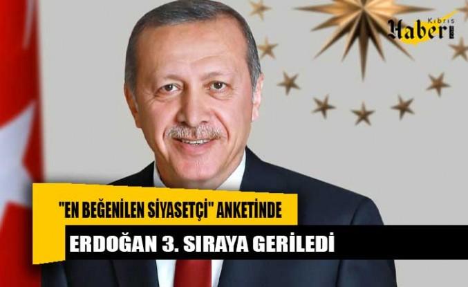 """""""En beğenilen siyasetçi"""" anketinde Erdoğan 3. sıraya geriledi"""
